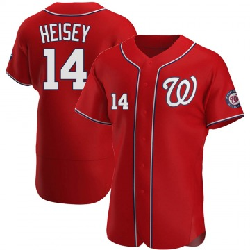 Men's Chris Heisey Washington Nationals Authentic Red Alternate Jersey