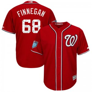 Youth Majestic Kyle Finnegan Washington Nationals Replica Red Cool Base 2018 Spring Training Jersey