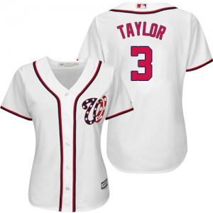 Women's Majestic Michael Taylor Washington Nationals Authentic White Home Cool Base Jersey