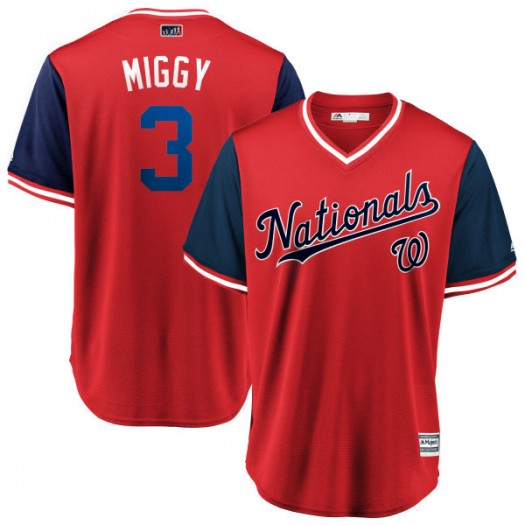 "Men's Majestic Michael A. Taylor Washington Nationals Replica Red/Navy ""MIGGY"" 2018 Players' Weekend Cool Base Jersey"