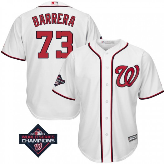 Youth Majestic Tres Barrera Washington Nationals Replica White Cool Base Home 2019 World Series Champions Patch Jersey