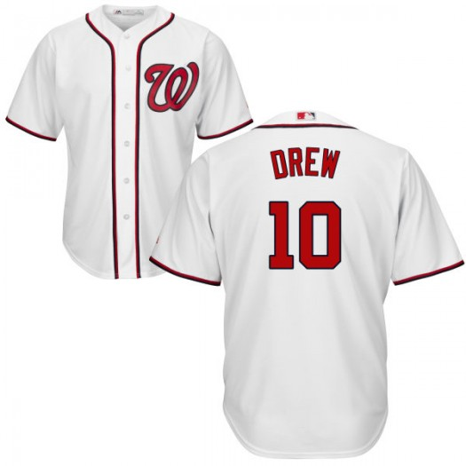 Youth Majestic Stephen Drew Washington Nationals Player Replica White Cool Base Jersey