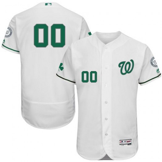 Men's Majestic Custom Washington Nationals Player Authentic White ized Celtic Flexbase Collection Jersey